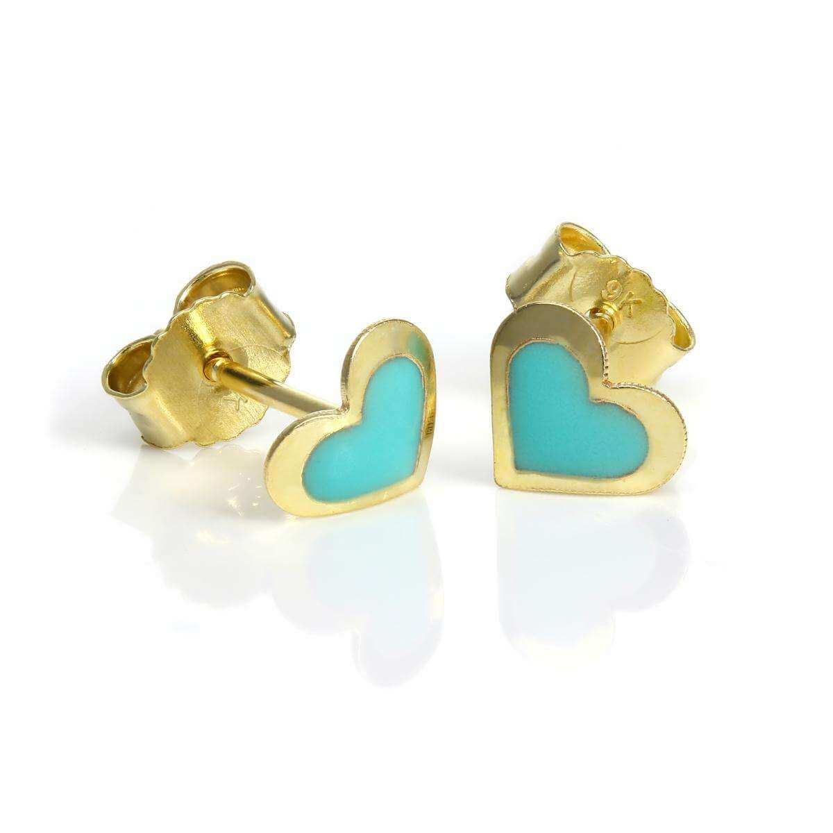 9ct Gold & Turquoise Enamel Heart Stud Earrings