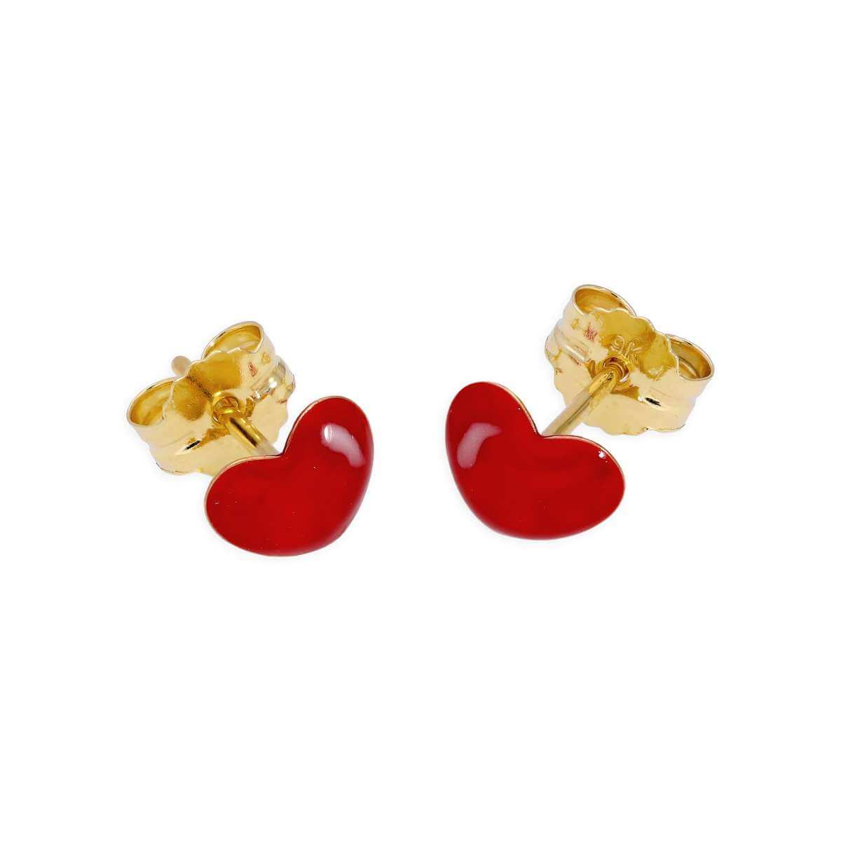 9ct Gold & Red Enamel Heart Stud Earrings