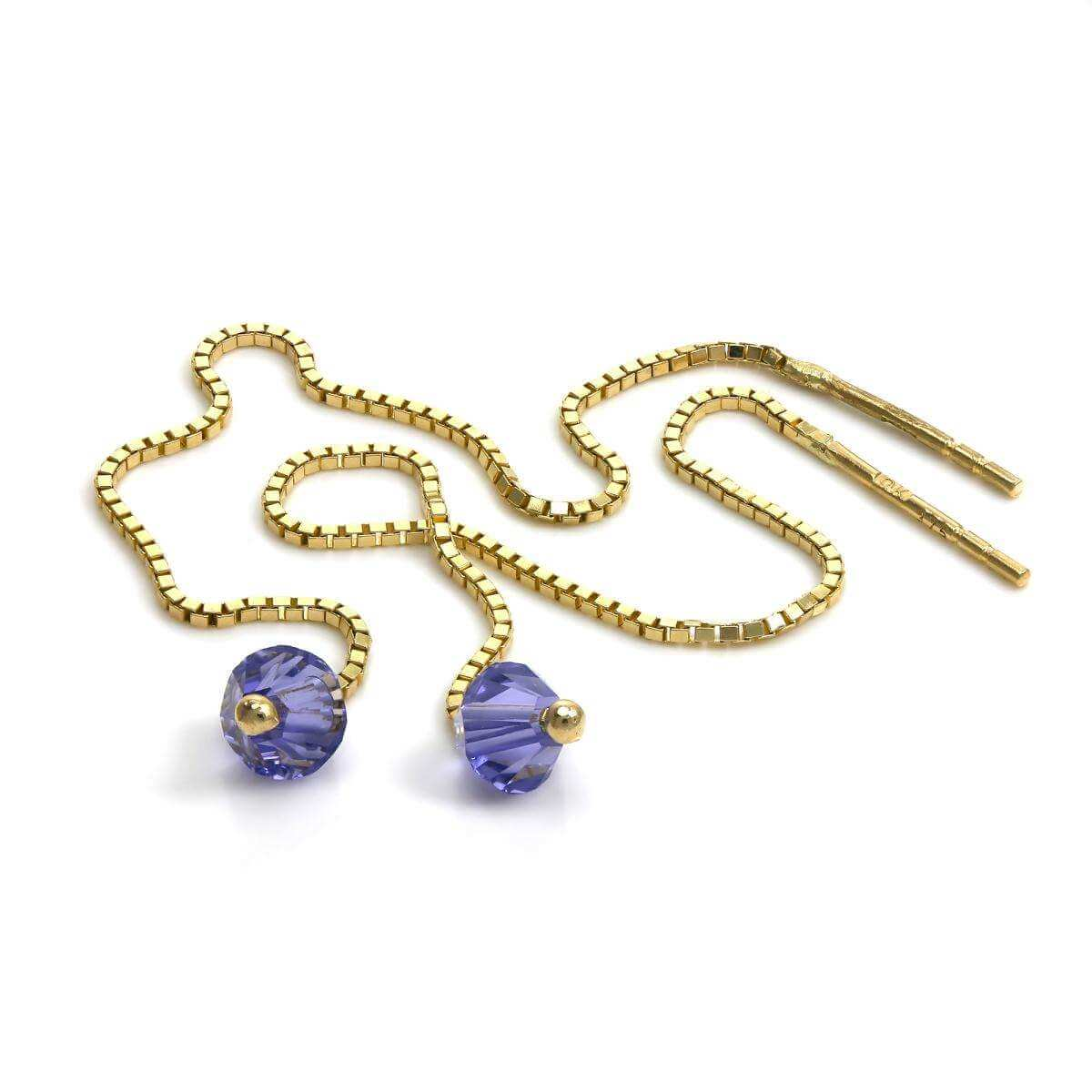 9ct Gold Pull Through Box Chain Earrings with Amethyst CZ Crystal