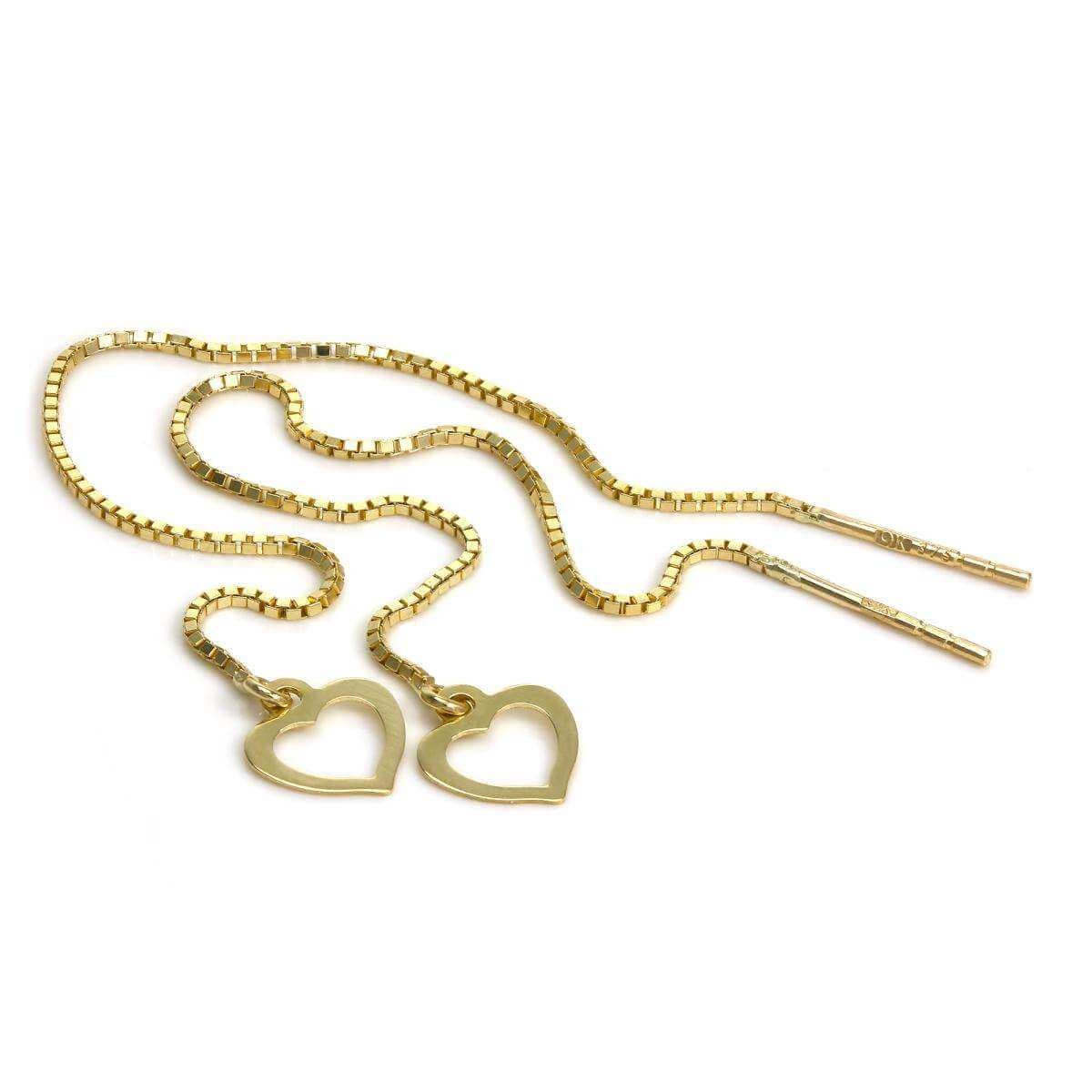 9ct Gold Open Heart Pull Through Box Chain Earrings