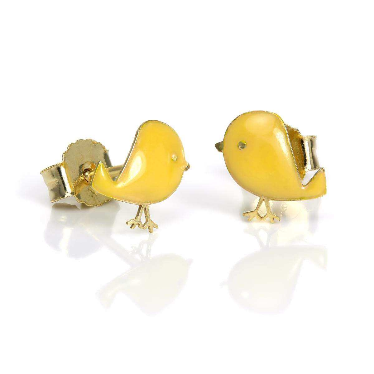 9ct Gold & Enamel Baby Chick Stud Earrings