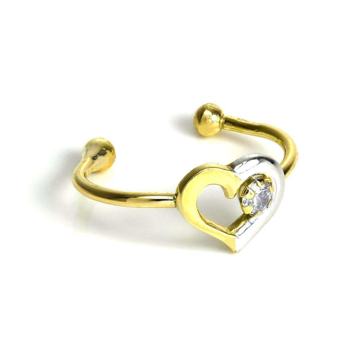 9ct Yellow & White Gold Open Heart Ear Cuff with Small Clear CZ Crystal