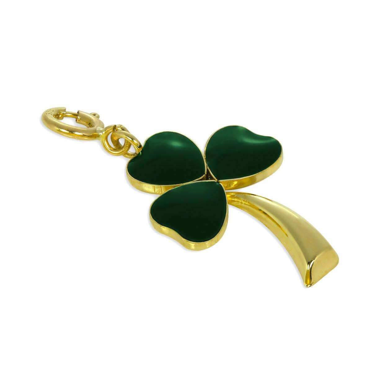 9ct Gold & Green Enamel Lucky Shamrock Charm