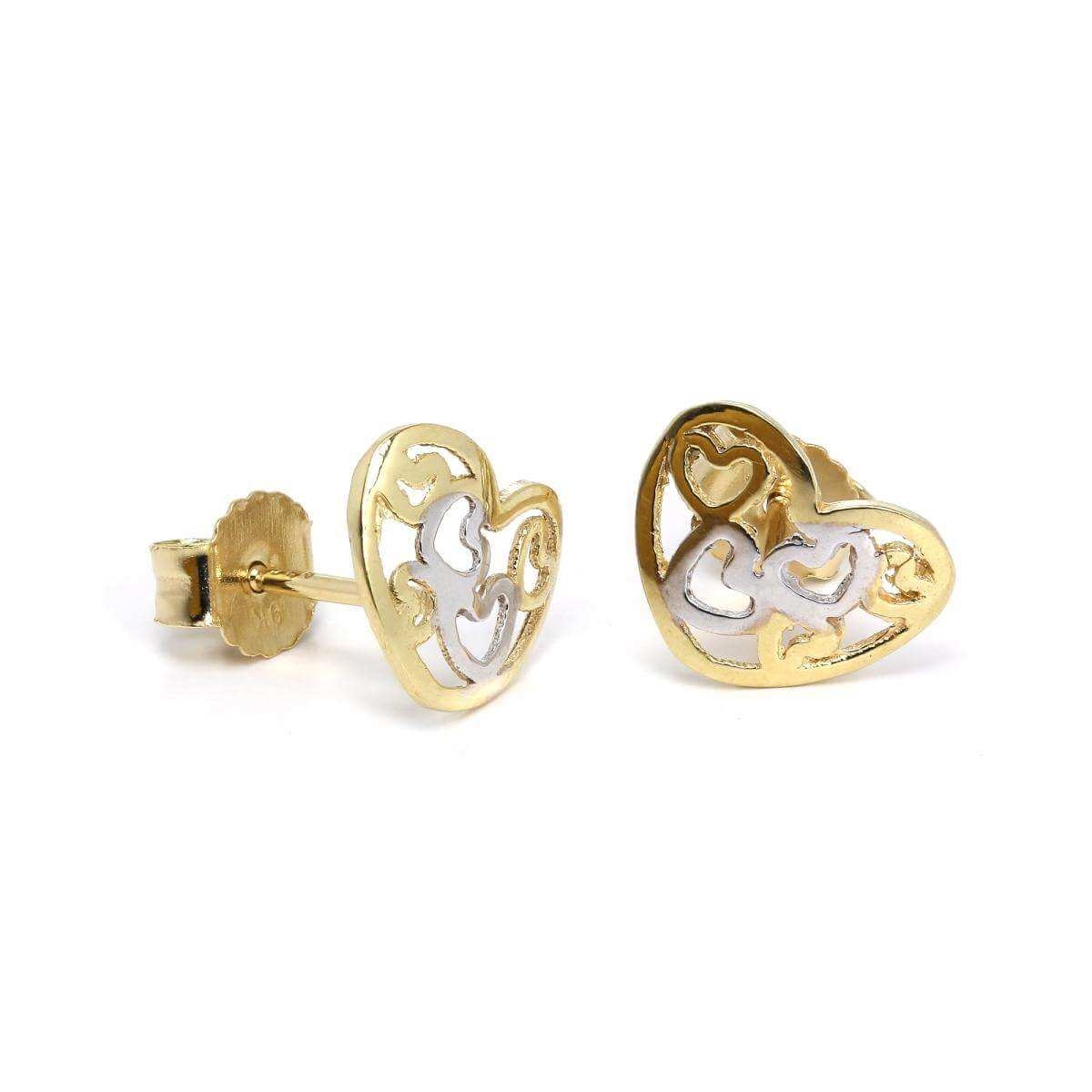 9ct Yellow & White Gold Open Heart Stud Earrings