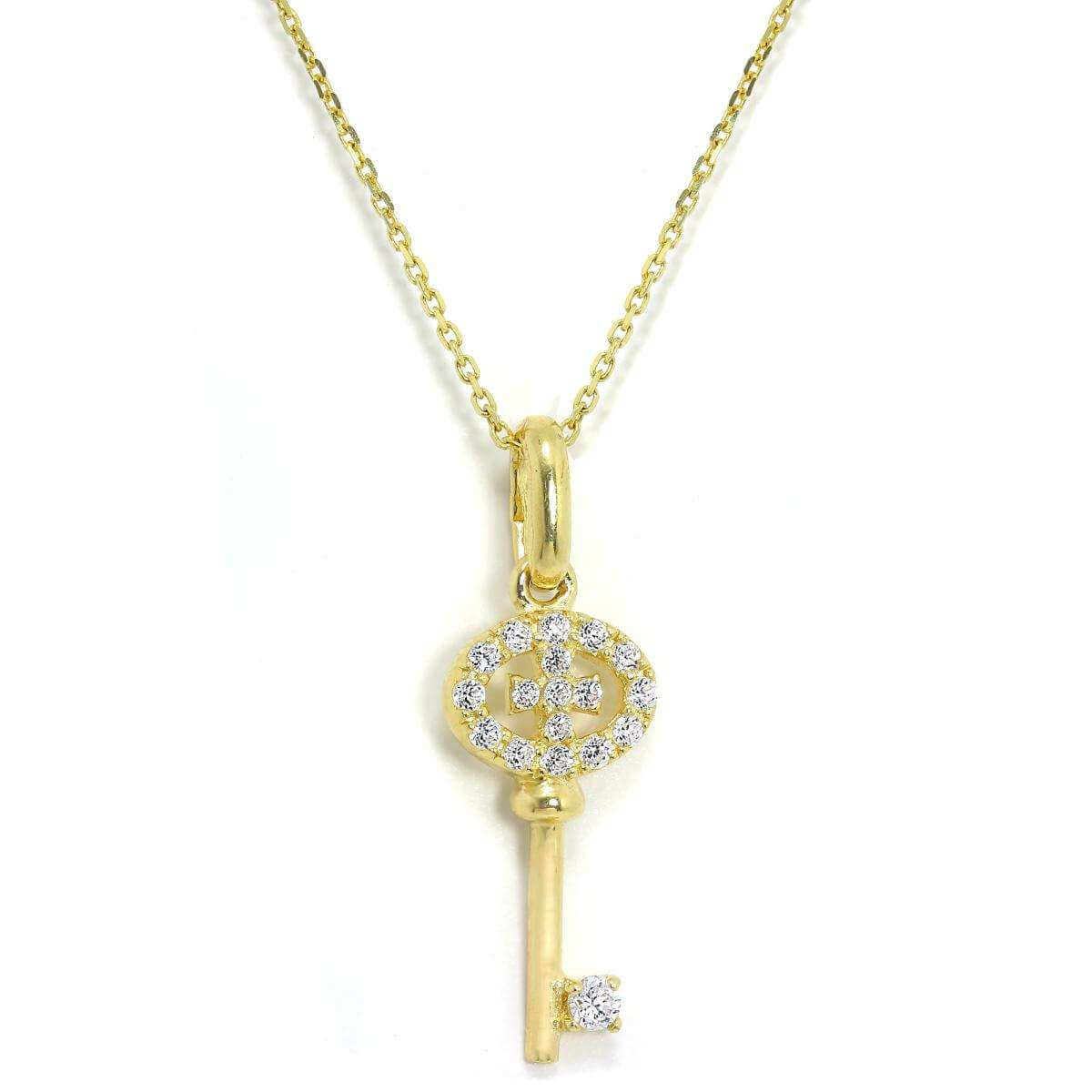 9ct Yellow Gold & CZ Crystal Encrusted Key Pendant on 16 - 20 Inch Chain