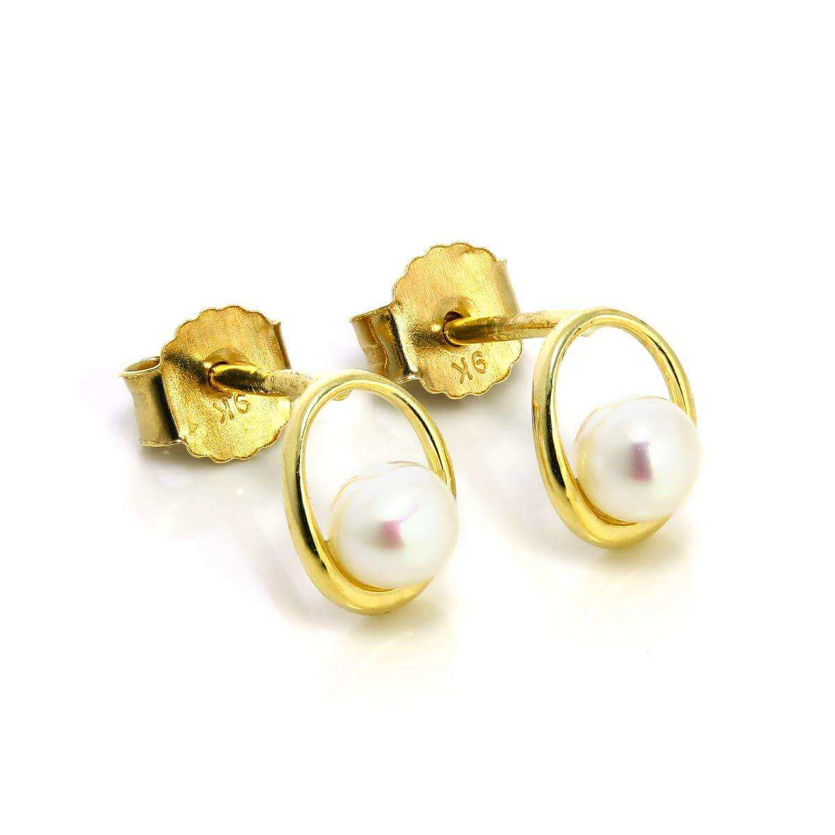 9ct Gold & Freshwater Pearl Open Stud Earrings