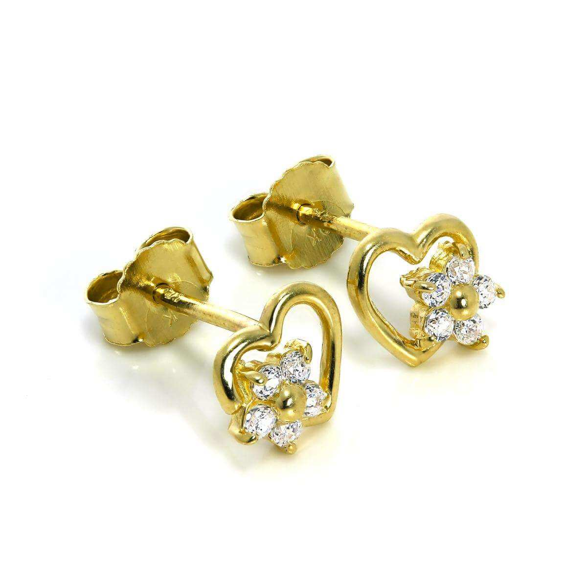 9ct Gold Open Heart & CZ Crystal Flower Stud Earrings