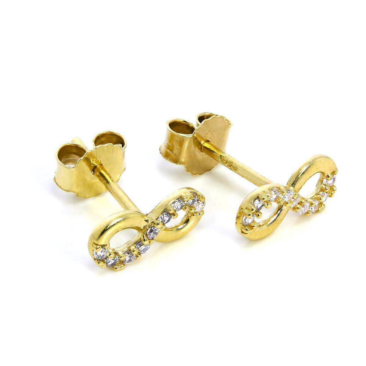9ct Gold & CZ Crystal Infinity Loop Stud Earrings