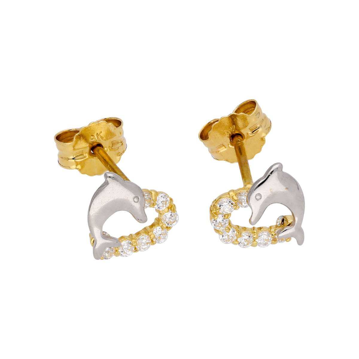 9ct Gold & CZ Crystal Open Heart & Dolphin Stud Earrings
