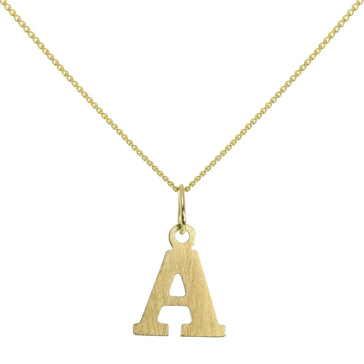 Lightweight 9ct Gold Initial Letter A Charm - 16 Inches