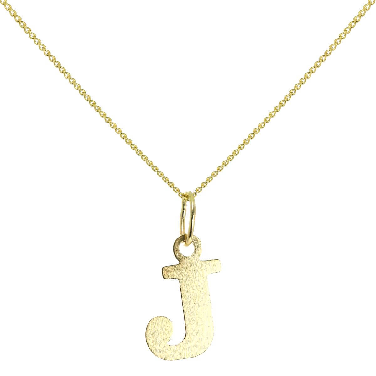 Lightweight 9ct Gold Initial Letter J Charm - 18 Inches