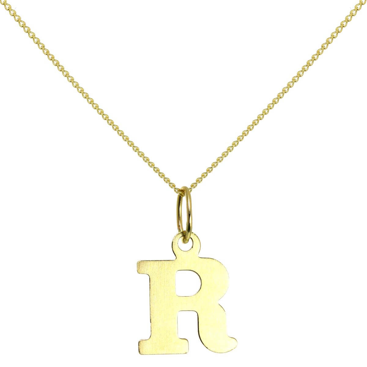 Lightweight 9ct Gold Initial Letter R Charm - 20 Inches