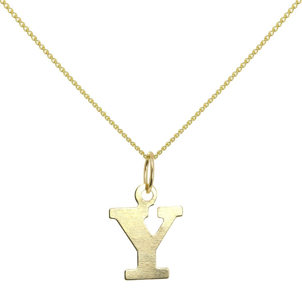 Lightweight 9ct Gold Initial Letter Y Necklace 16 - 20 Inches
