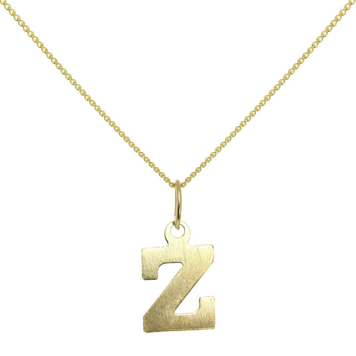Lightweight 9ct Gold Initial Letter Z Charm - 20 Inches