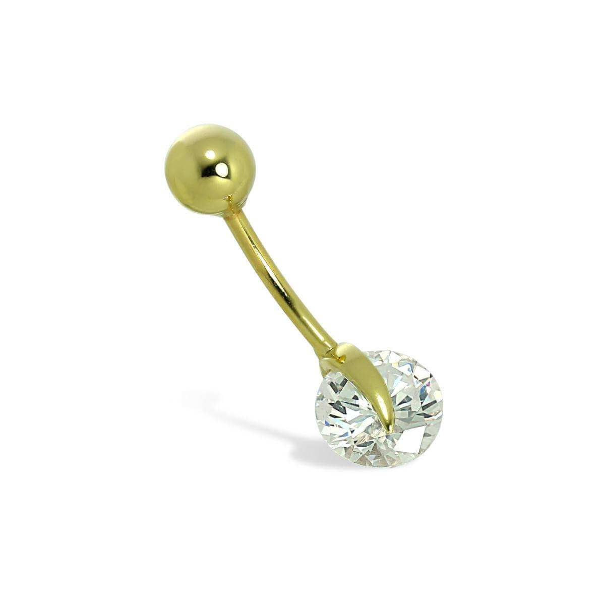 9ct Gold 7mm Clear CZ Crystal Wheel Ball End Belly Bar Piercing