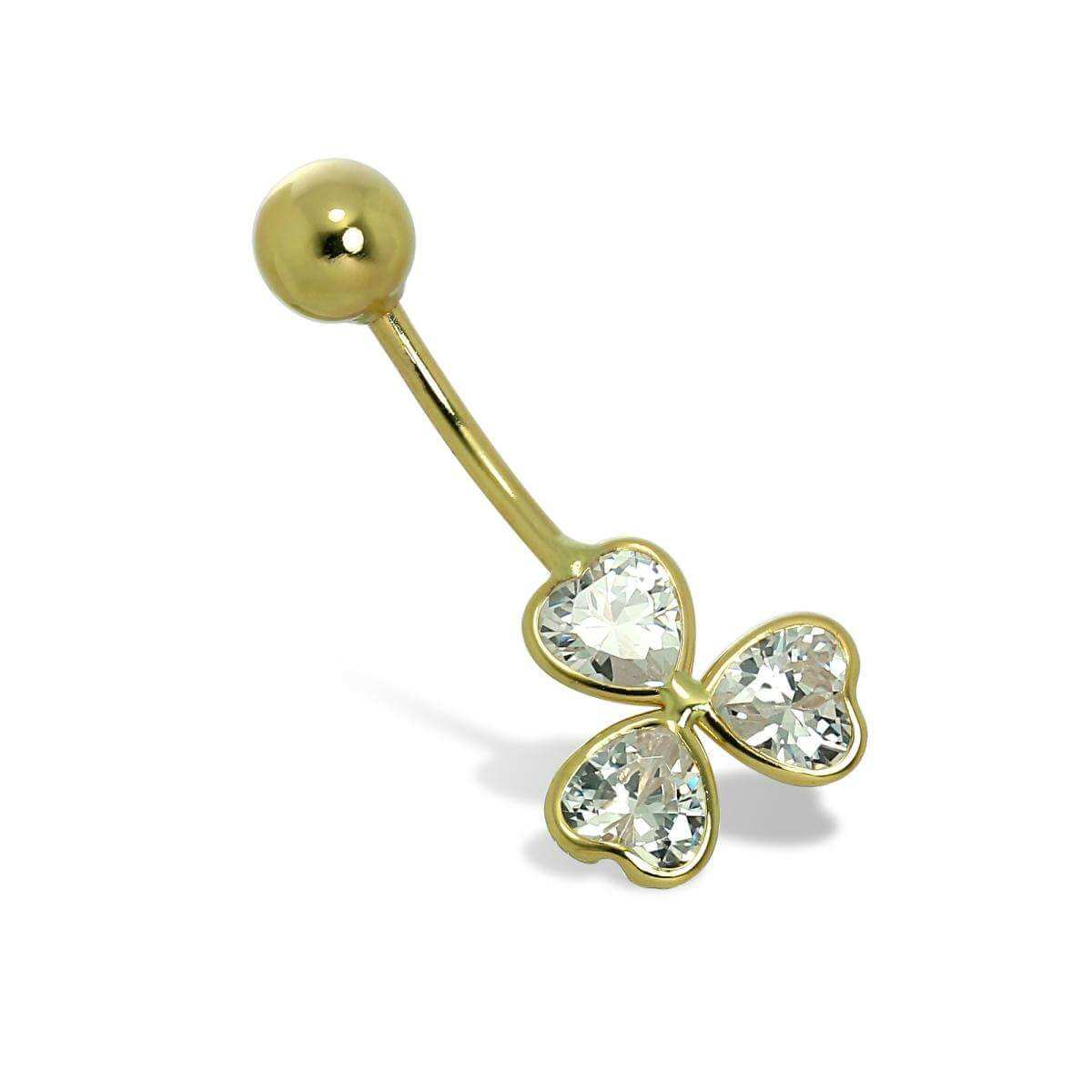 9ct Gold & CZ Crystal Clover Flower Ball End Belly Bar Piercing