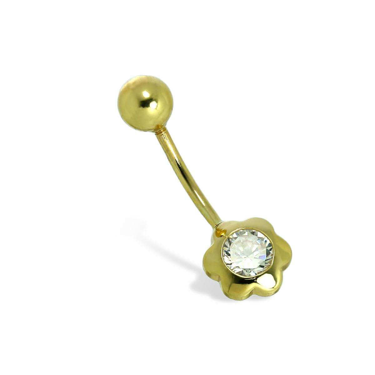 9ct Gold & 4mm Clear CZ Crystal Flower Ball End Belly Bar Piercing