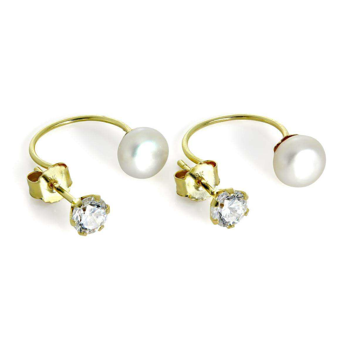 9ct Gold 4mm Round CZ Crystal & 6mm Freshwater Pearl Double Side Stud Earrings
