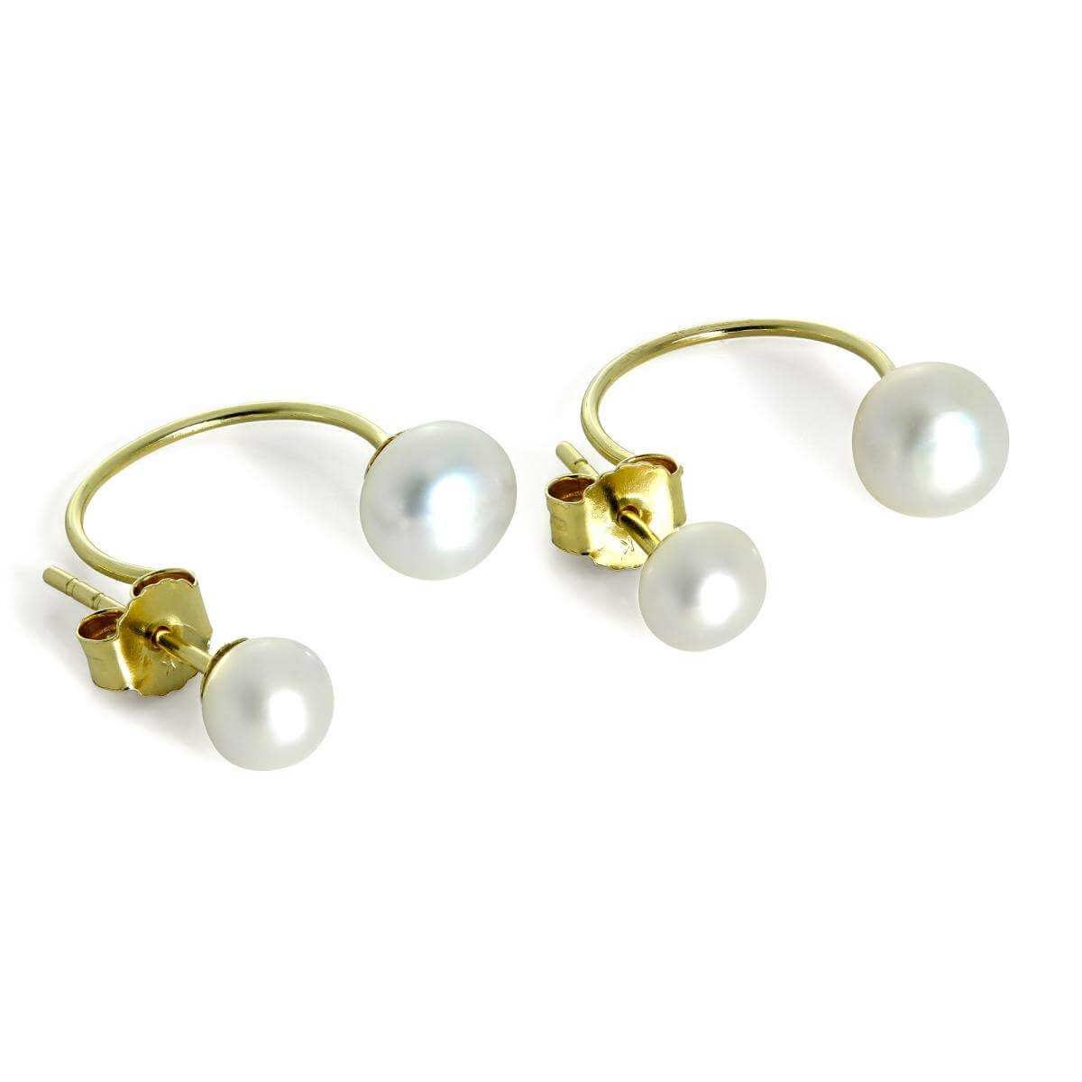 9ct Gold Double Freshwater Pearl Stud Half Hoop Earrings