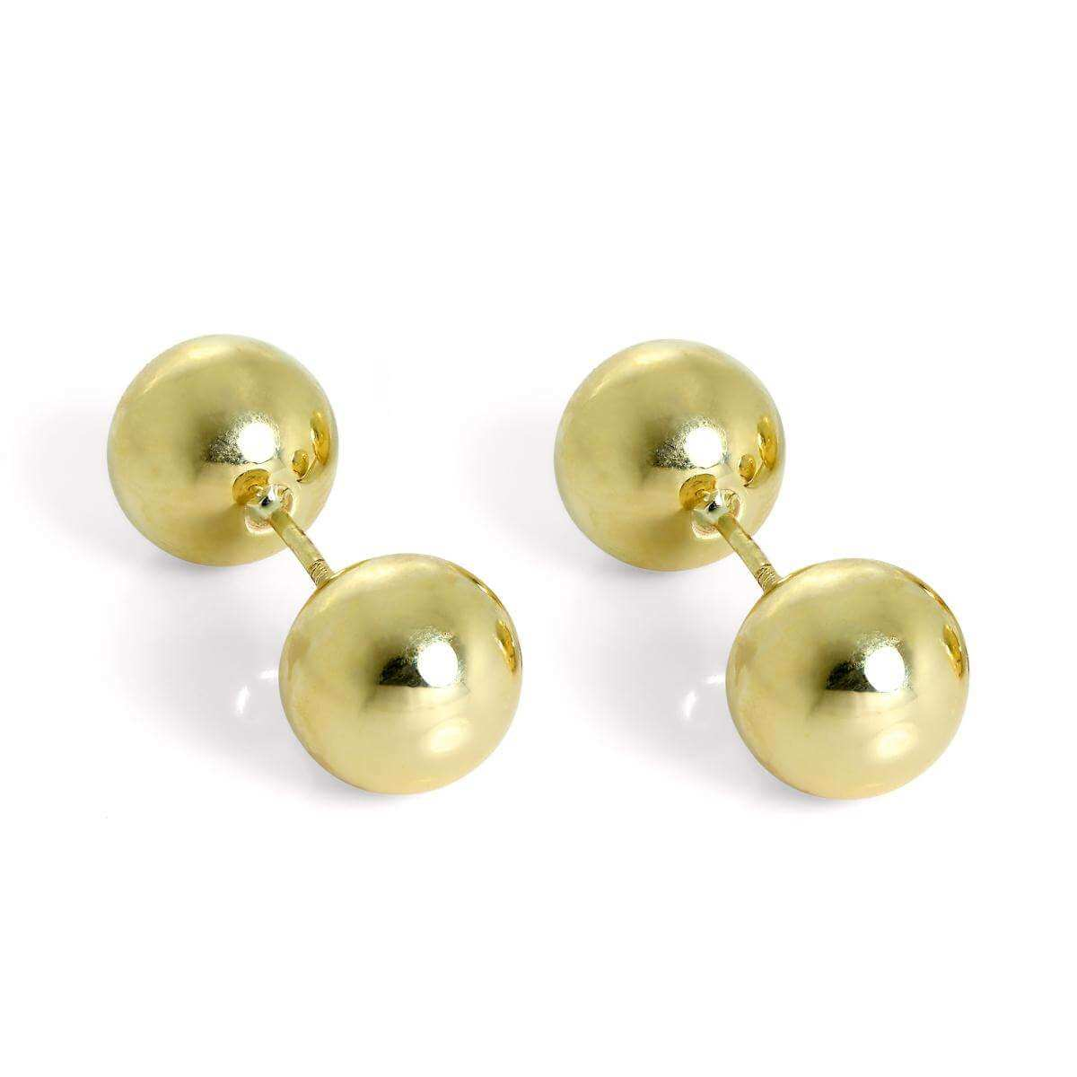 9ct Gold Double Sided 8mm Ball Stud Earrings