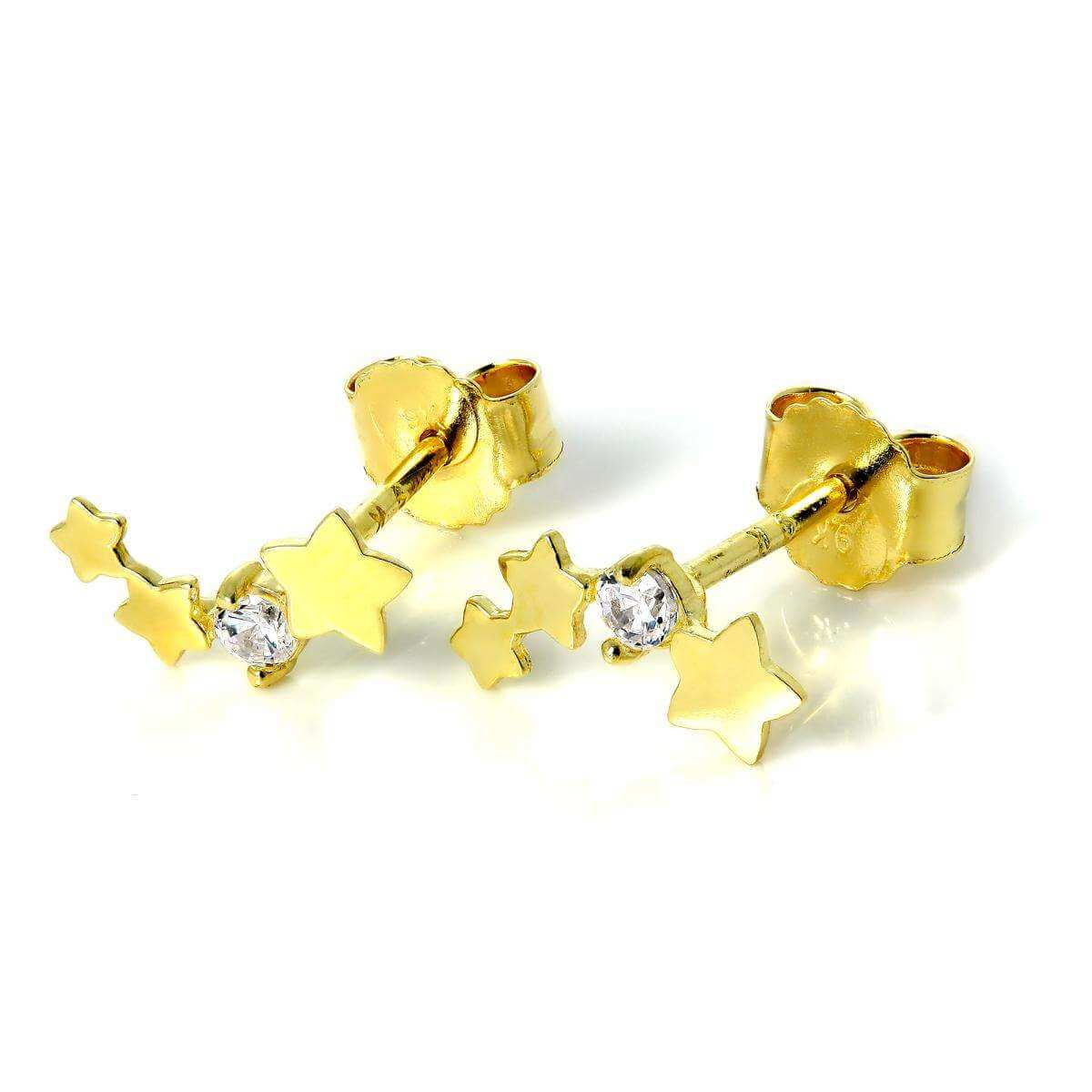 9ct Gold Triple Star Stud Earrings with Clear CZ Crystal