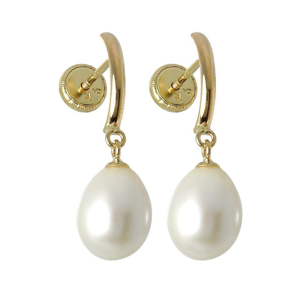 9ct Gold & Freshwater Pearl Screwback Stud Earrings