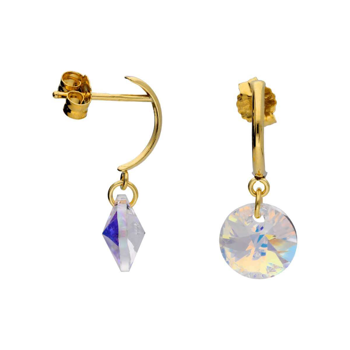 9ct Gold & CZ Crystal Drop Earrings