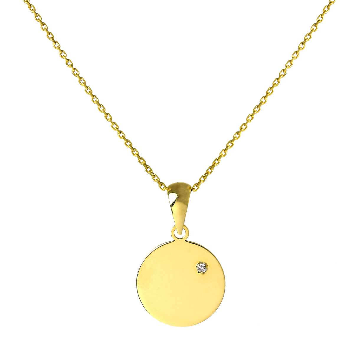 9ct Gold Engravable Round Pendant with Tiny CZ Crystal on 16 - 20 Inch Chain