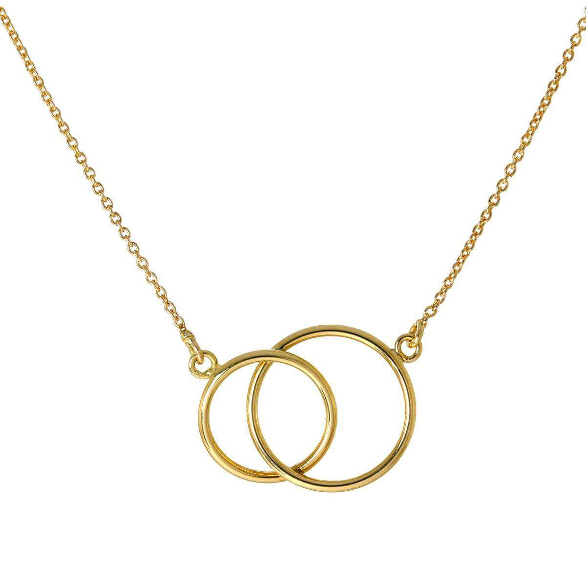 9ct Gold Interlocking Hoop Pendant 16 Inch Necklace