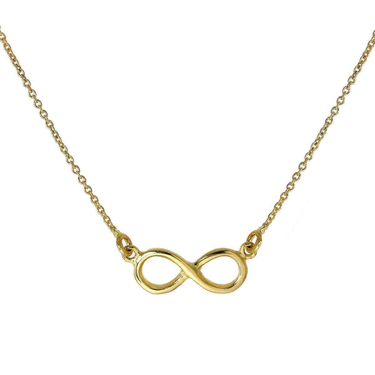 9ct Gold Infinity Pendant 16 Inch Necklace
