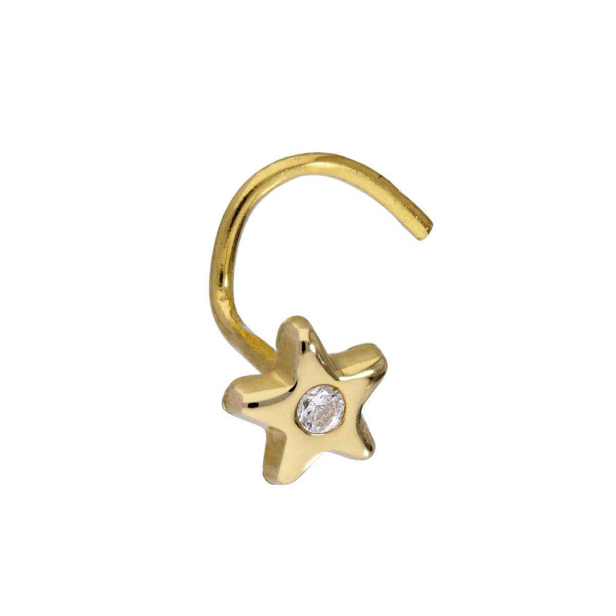 9ct Gold & CZ Crystal Star Nose Screw