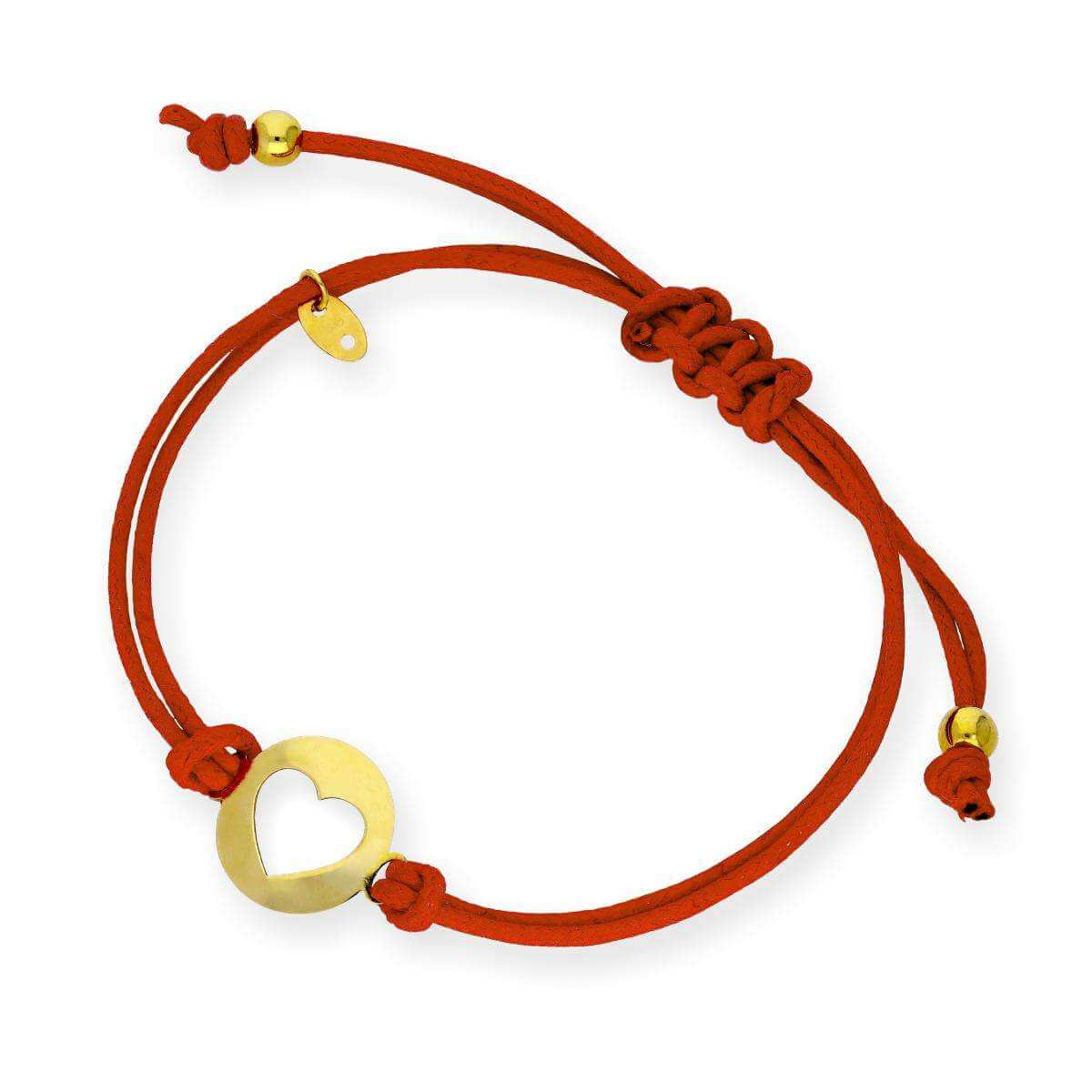 9ct Gold Open Heart Red Cord Adjustable Bracelet