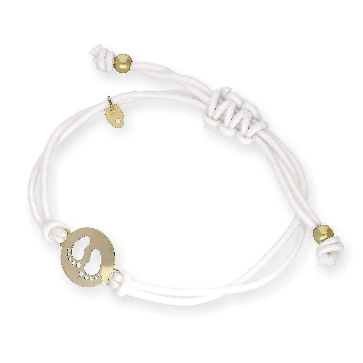9ct Gold Baby Feet Outline White Cord Adjustable Bracelet