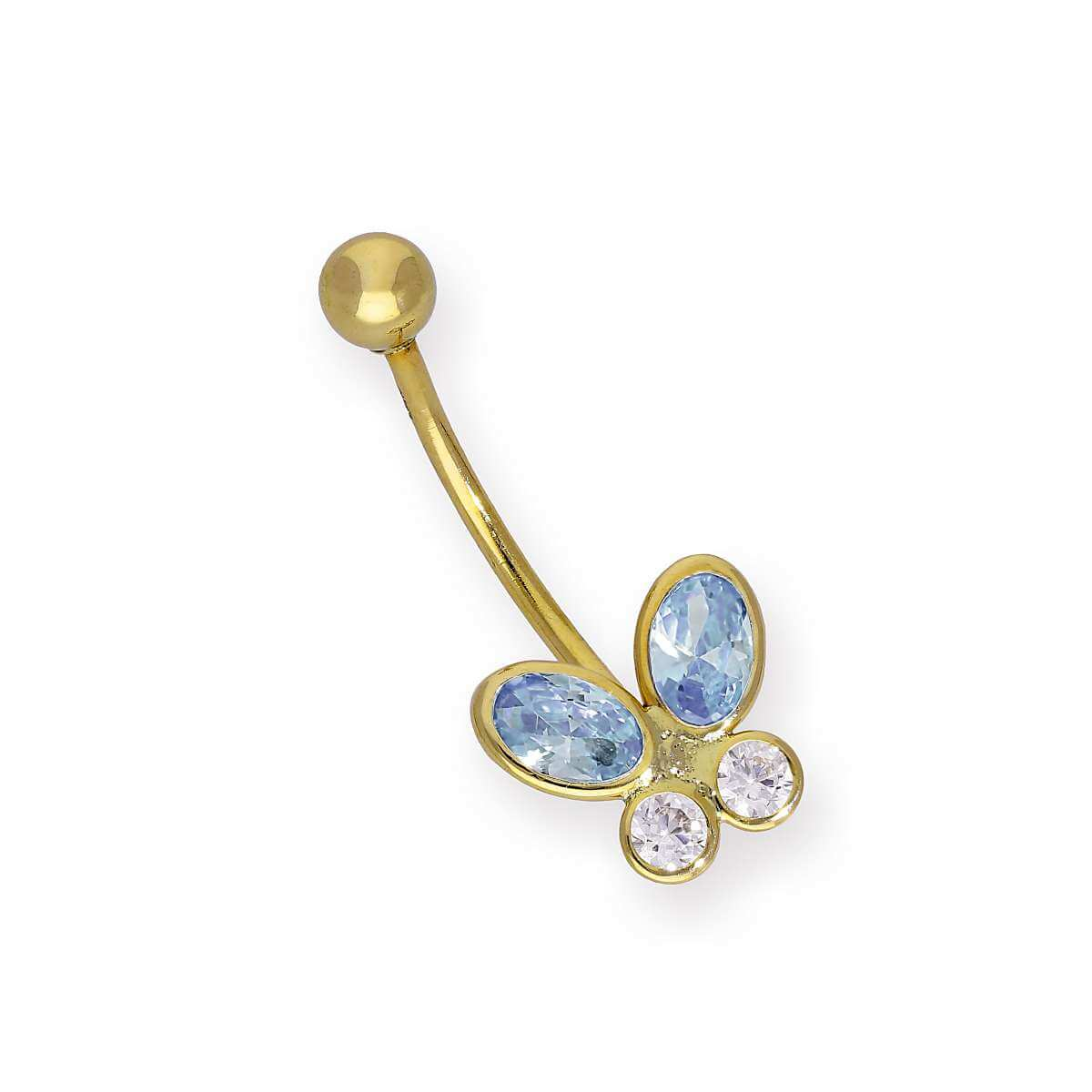 9ct Gold & Blue CZ Crystal Butterfly Belly Bar