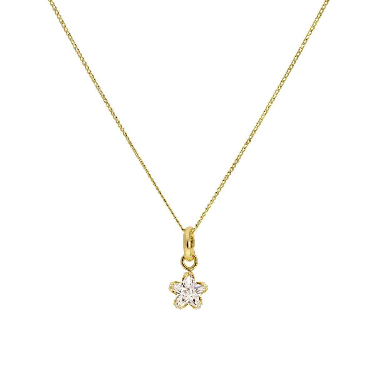 Small 9ct Gold & CZ Crystal Star Pendant Necklace 16 - 20 Inches