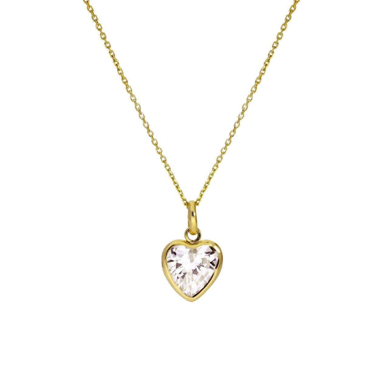 9ct Gold & Clear CZ Crystal Heart Pendant Necklace 16 - 20 Inches