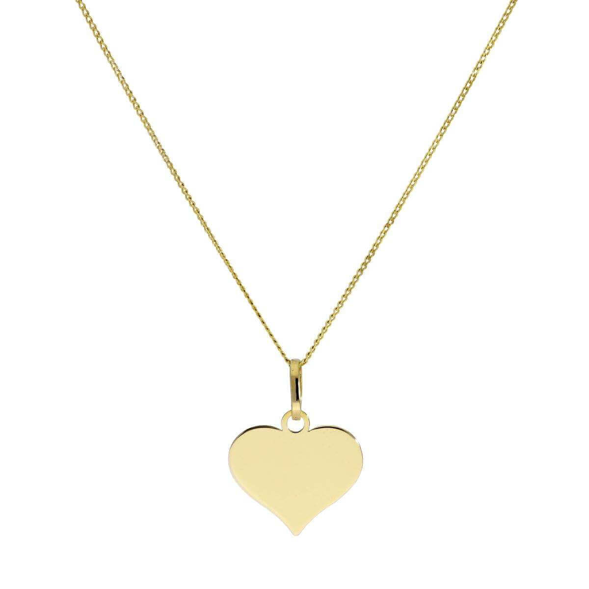 9ct Gold Engravable Heart Pendant Necklace 16 - 20 Inches