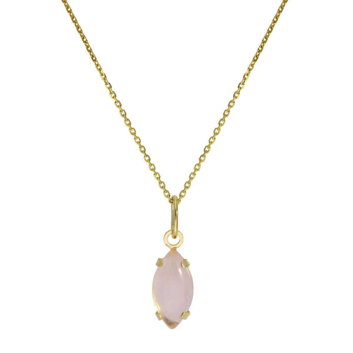 9ct Gold & Rose Quartz CZ Crystal Oval Pendant Necklace 16 - 20 Inches