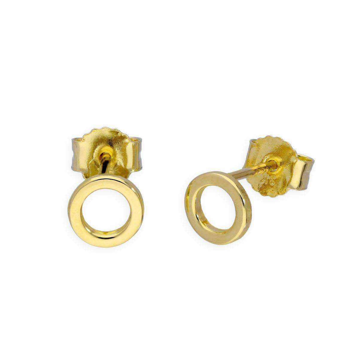 9ct Gold Karma Circle Stud Earrings