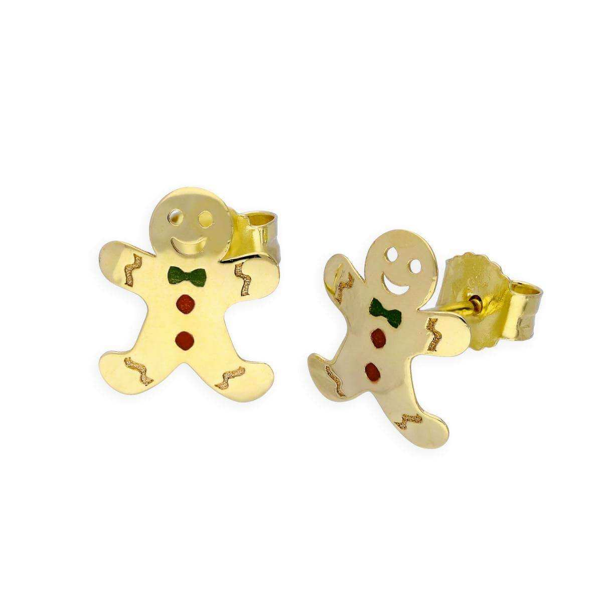 9ct Gold Gingerbread Man Stud Earrings
