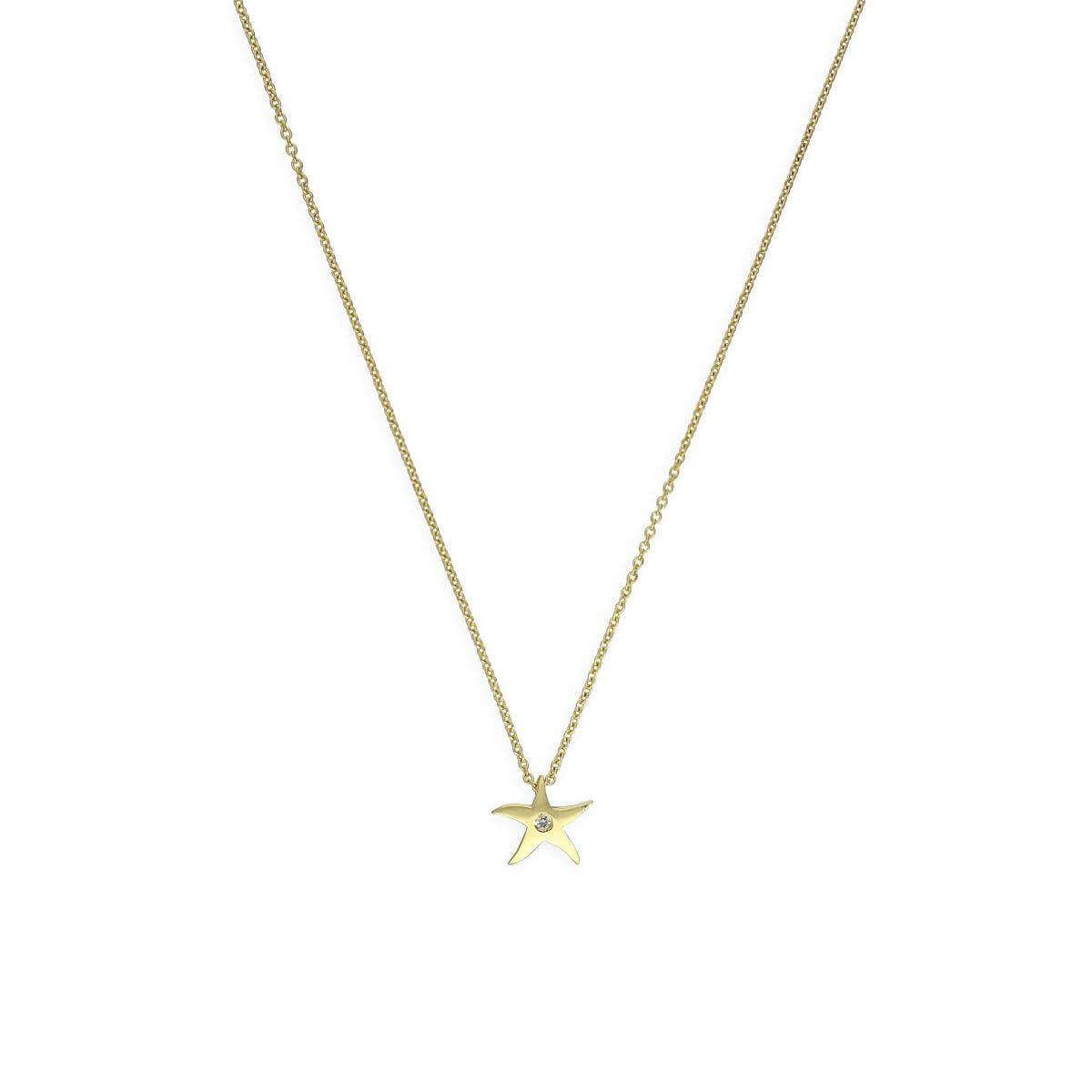 9ct Gold & Genuine 0.01ct Diamond Star Necklace w 18 Inch Chain
