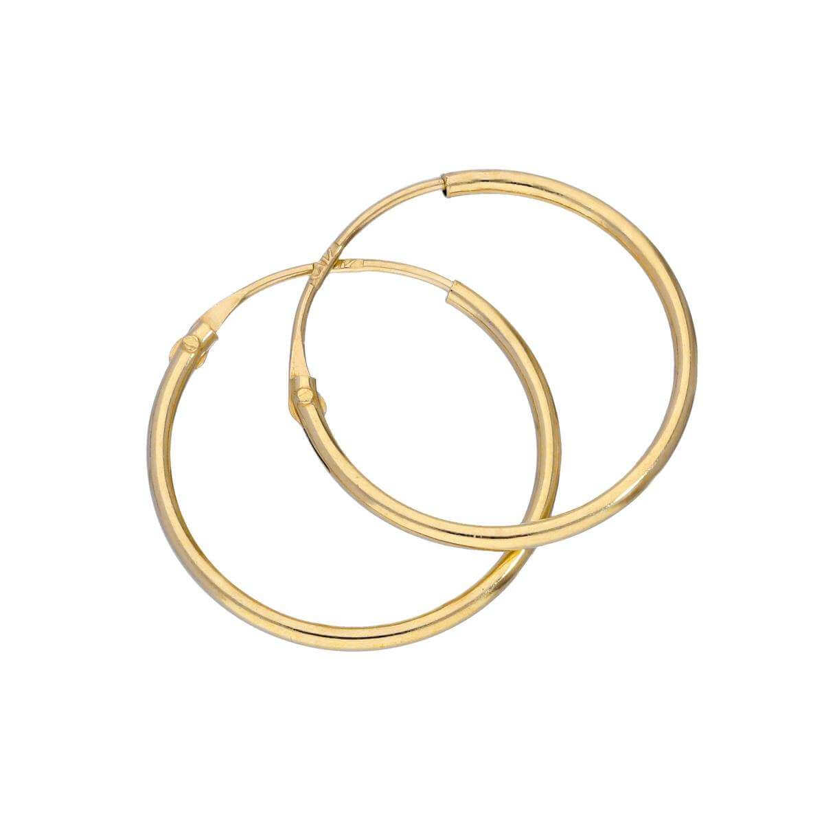 9ct Gold 12mm Sleeper Hoop Earrings