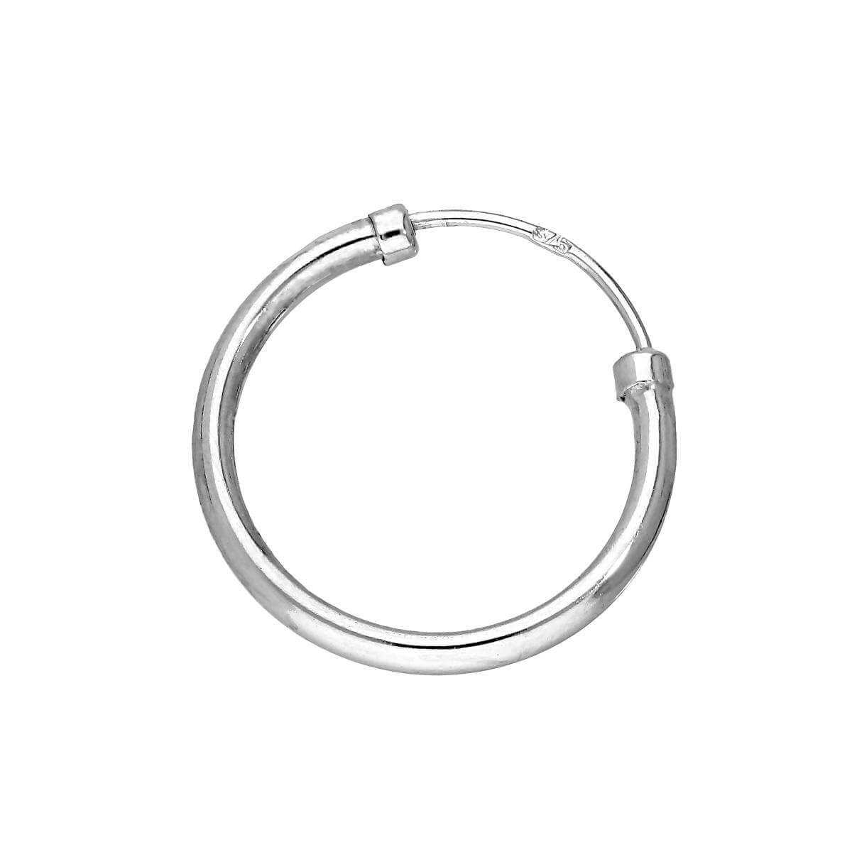 9ct White Gold Mens Single Hoop Earring