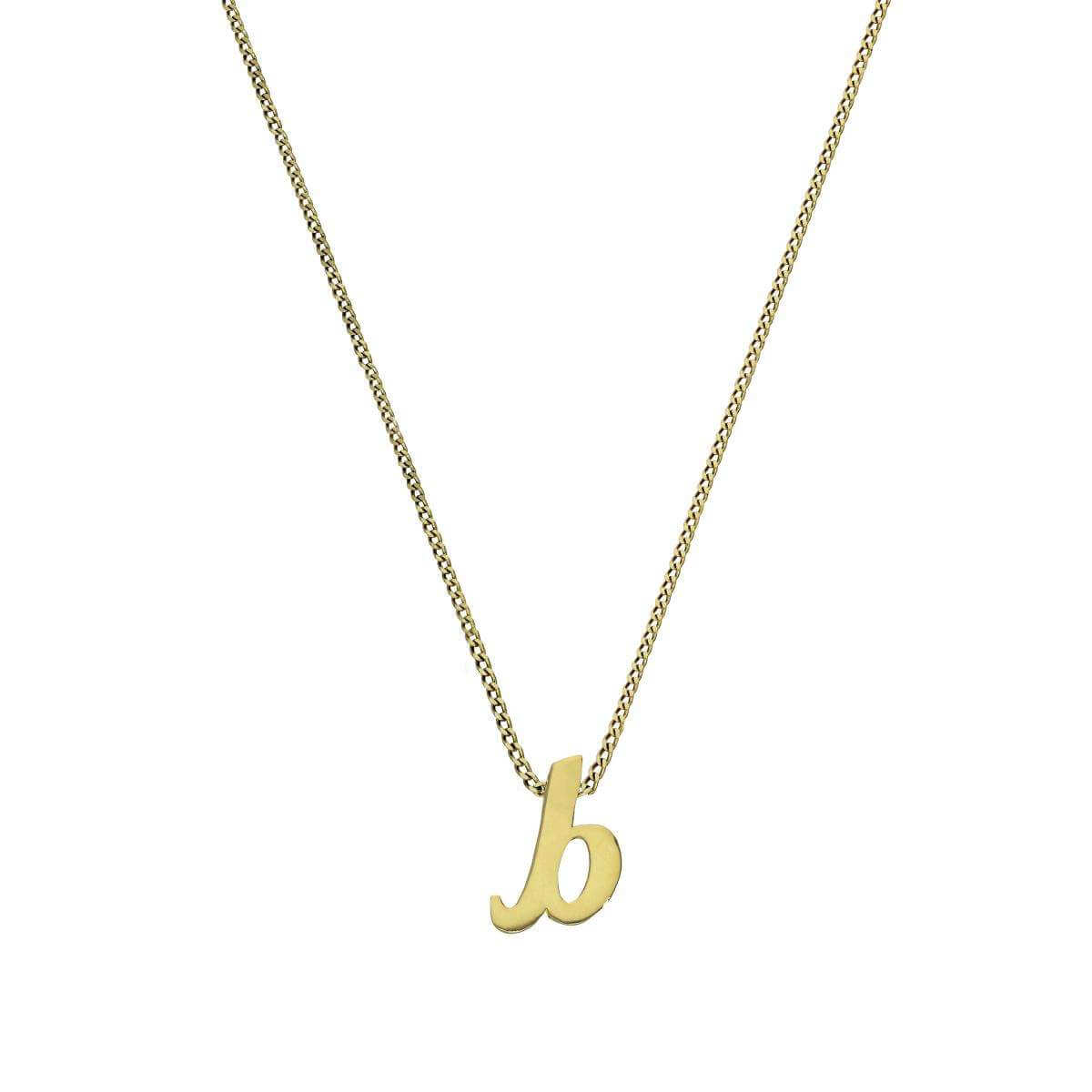 Tiny 9ct Gold Alphabet Letter B Pendant on Chain 16 - 20 Inches