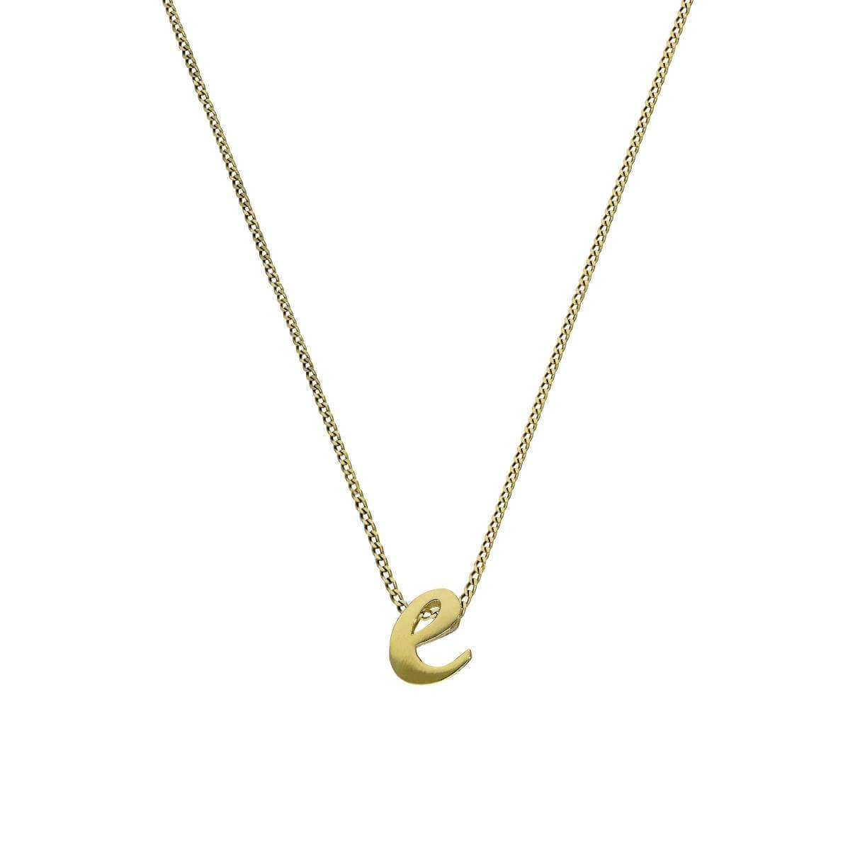 Tiny 9ct Gold Alphabet Letter E Pendant on Chain 16 - 20 Inches