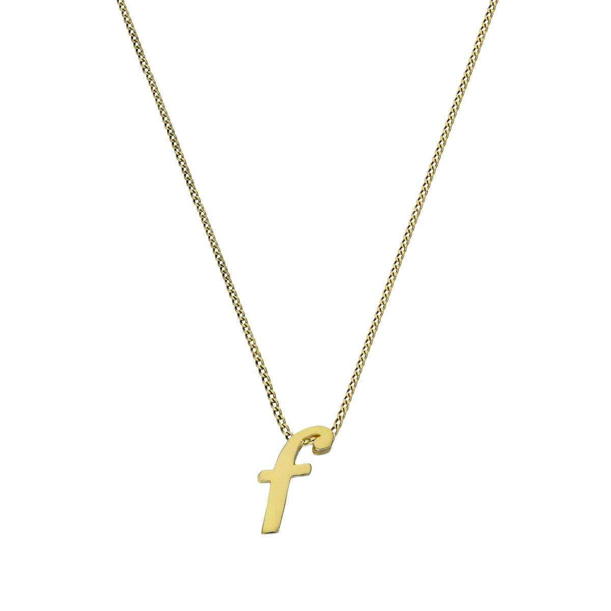 Tiny 9ct Gold Alphabet Letter F Pendant on Chain 16 - 20 Inches