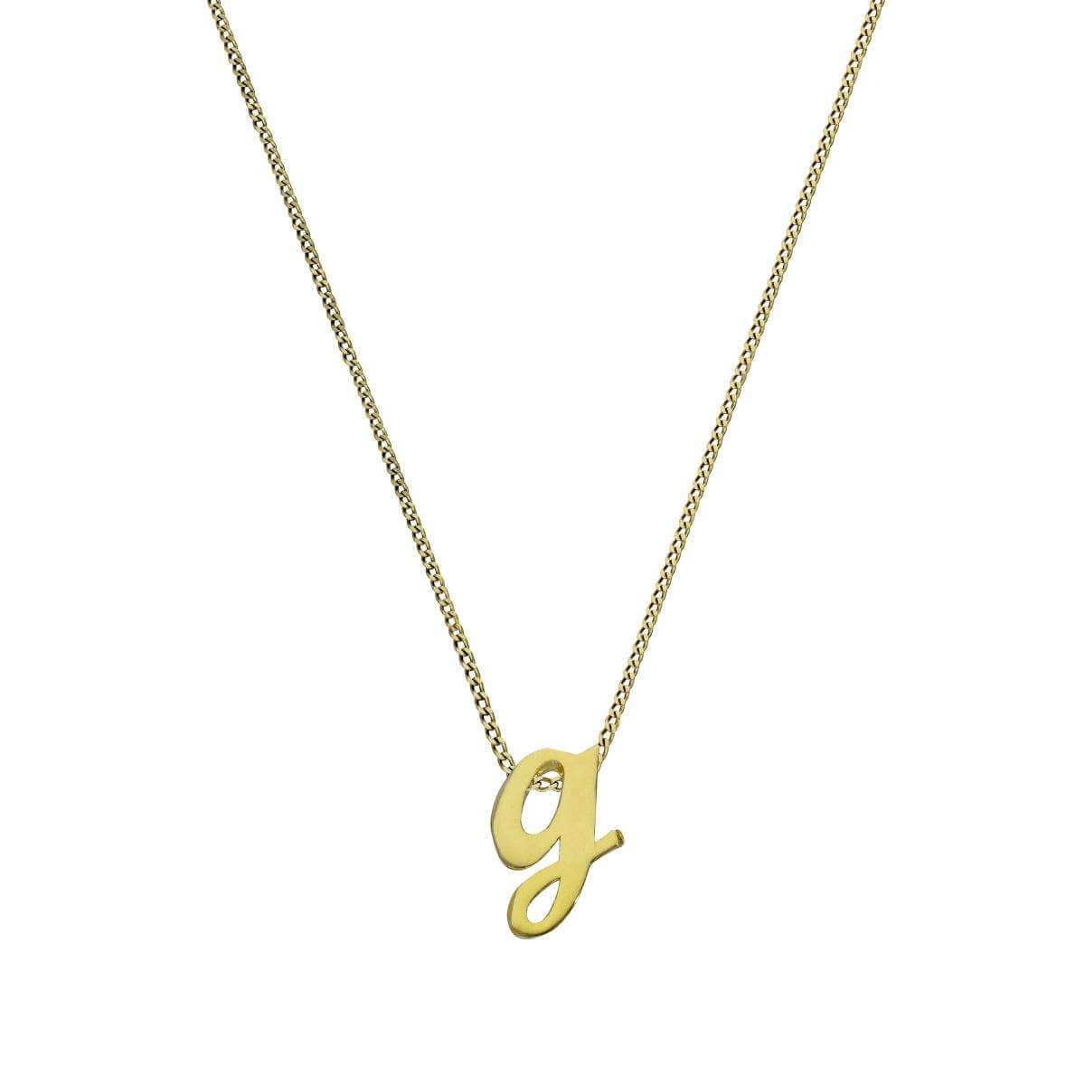 Tiny 9ct Gold Alphabet Letter G Pendant Necklace 16 - 20 Inches