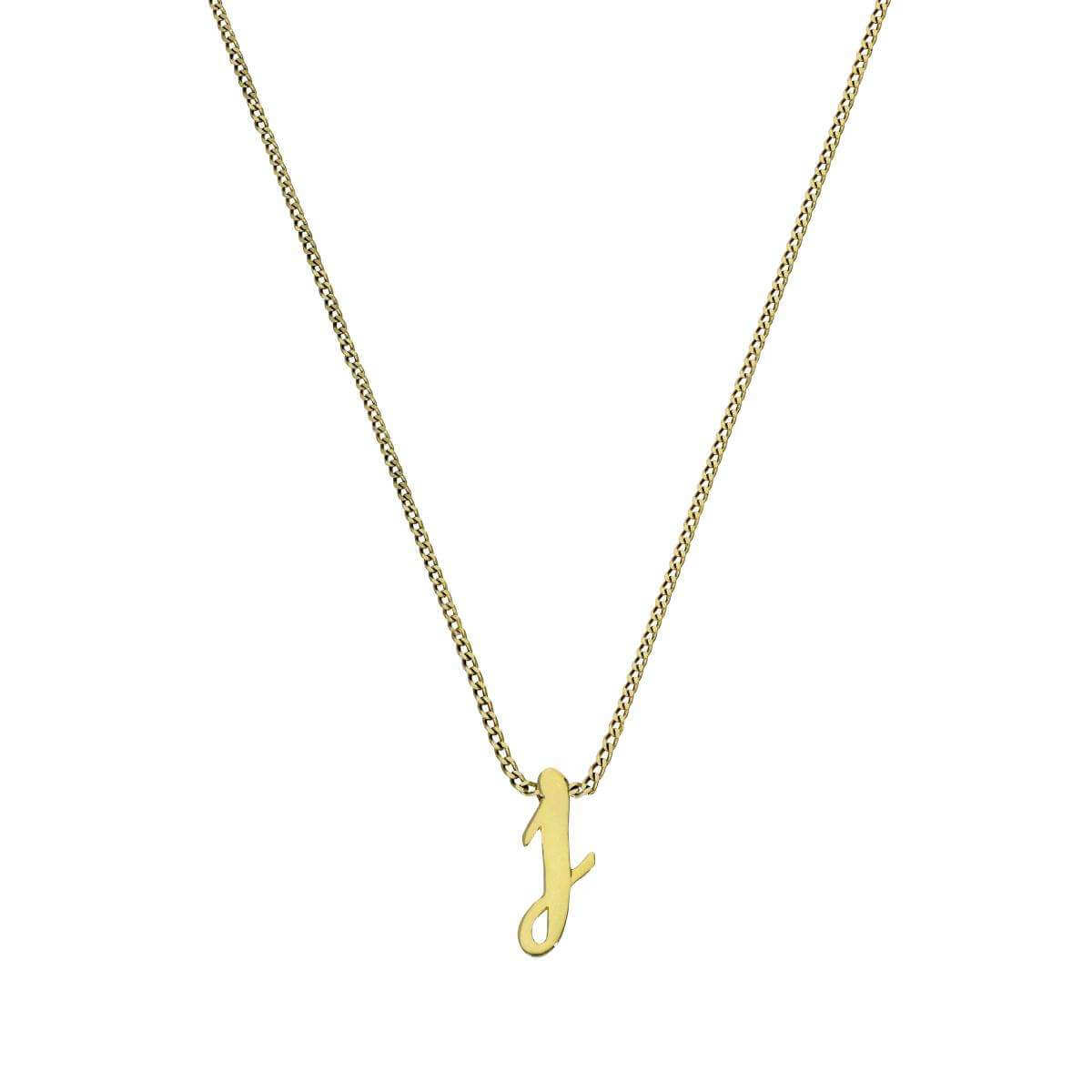 Tiny 9ct Gold Alphabet Letter J Pendant Necklace 16 - 20 Inches