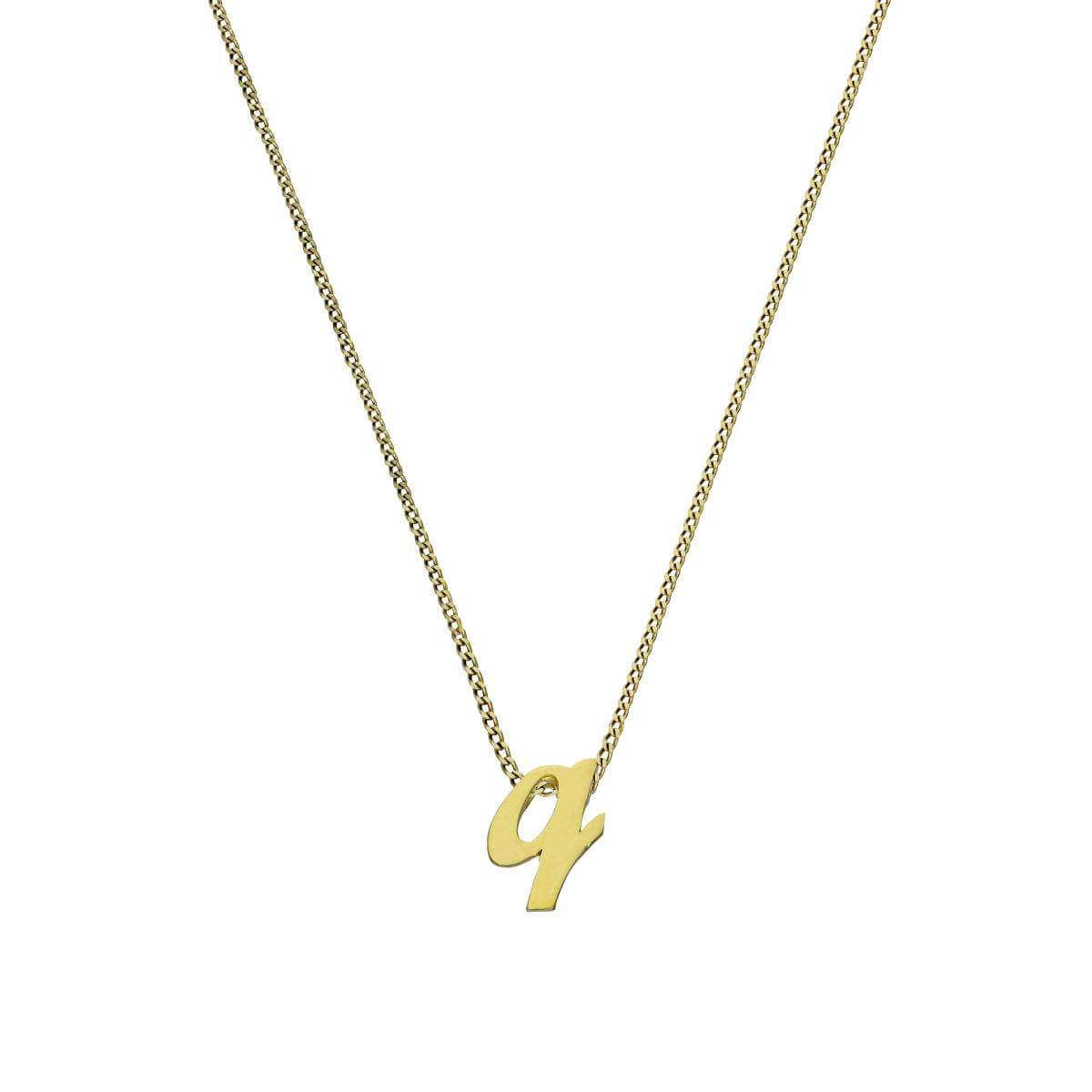 Tiny 9ct Gold Alphabet Letter Q Pendant Necklace 16 - 20 Inches