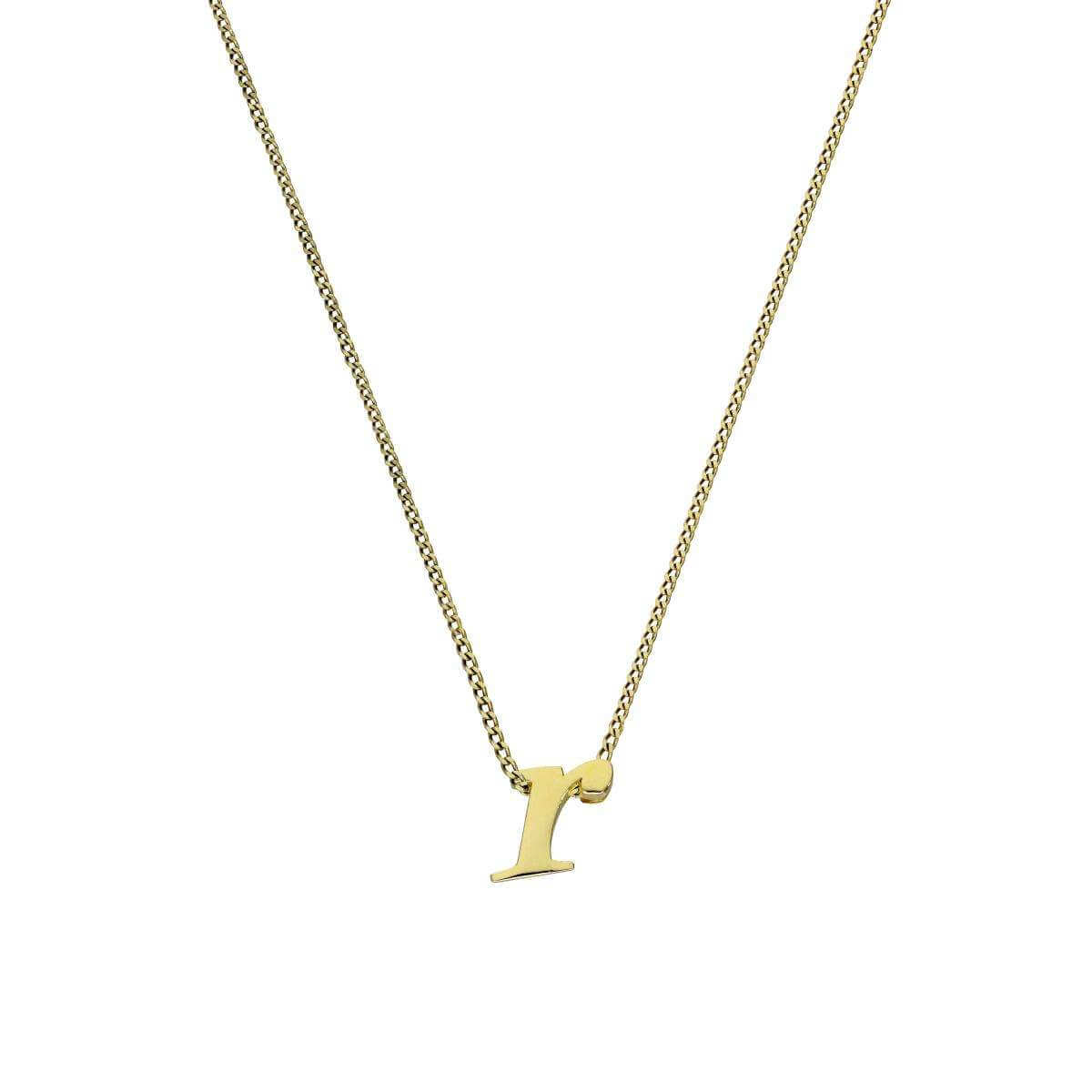 Tiny 9ct Gold Alphabet Letter R Pendant Necklace 16 - 20 Inches